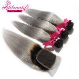 Qualität Ombre Farbe Remy Haar spinnt peruanisches gerades Menschenhaar