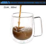 二重壁によって絶縁されるガラスエスプレッソの茶、コーヒーカップ