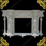 Mensola del camino di scultura di pietra del camino per l'ornamento domestico (GS-FF-029)