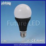 CE aprovado Futuro F-B6 E27 E14 B22 Die Casting LED de alumínio Plastic Light Bulb