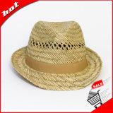 Palha Natural de palha oco Fedora Hat