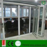 Portello scorrevole piegante con il doppio portello di vetro di alluminio