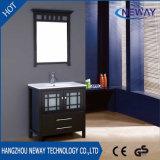 現代床のミラーとの永続的な木製の単一の流しの浴室の虚栄心