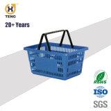 Xj-11 Plástico de supermercado cesto de compras com pega e Rodas