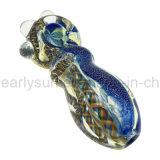Blauer Schein farbiges Verpackungs-Löffel-Handrohr mit drei Glasmarmoren (ES-HP-199)