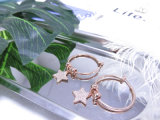 18K 로즈 금 도금 별 펀던트 백색 다이아몬드 결정 귀걸이