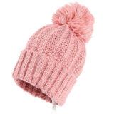 Зимние трикотажные женщин с Pompom Beanie Red Hat для взрослых