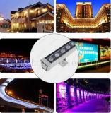 Mando a distancia de 12 W, lavado de pared LED RGB al aire libre de inundaciones de la luz de la arandela