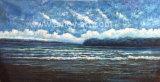 Pittura a olio Handmade di vista sul mare su tela di canapa per la decorazione domestica
