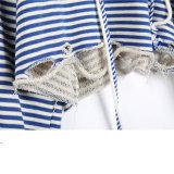 Mujeres rayadas rasgadas suéter de encargo a granel de Hoodies de la tapa de la cosecha de las mujeres
