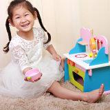 Brinquedos educacionais das crianças coloridas de madeira do Kitchenware da cozinha do bebê da simulação do enigma do fogão de gás da desmontagem para miúdos