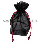 Impressão personalizada promocional Rosa Cordão Dom Organza Bolsa Sacos de cosméticos