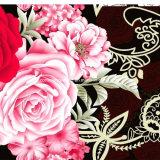 la dispersion de la fleur 3D de crochet de la pivoine 100%Polyester a estampé le tissu pour le jeu de literie