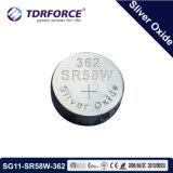 1.55V腕時計のための銀製の酸化物ボタンのセル(SG11-SR58-362)電池