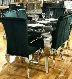 椅子を食事している現代フランスのヨーロッパルイのダイニングテーブルの緑のビロードニコール