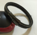 Het Roestvrij staal van de Juwelen van het lichaam ontzet de Geweven Levering voor doorverkoop van de Fabriek van de Armband van de Kabel van het Leer (BL2850)