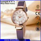 Reloj de encargo de la mujer del regalo del cuarzo de la correa de cuero de la manera (Wy-093B)