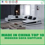 Sofá de canto de madeira moderno do couro da mobília da alta qualidade