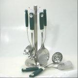Ferramentas da cozinha da câmara de ar do aço inoxidável do punho e do silicone do aperto de PP/Soft