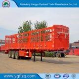 3つの車軸馬かウシまたは牛または牛またはヒツジまたはブタの輸送の塀または半棒のトレーラー