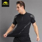 人の堅いTシャツのスポーツ乾燥した適合の適性のワイシャツ