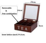 9つの格子茶キャンデーの茶コーヒー記憶木ボックス