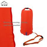 Bouée de flottement de qualité et de logo fait sur commande sûr lumineux chaud de sac sec de bouée de natation de couleur de vente avec la boucle de sifflement et les doubles sacs d'air