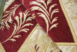 Tessuto da arredamento del Chenille del reticolo del foglio da colore rosso