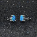 Einfache form-Ohrring-Sterlingschmucksachen des Ohrring-Stift-925 silberne ovale blaue Opal