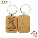Rectangle personnalisé de bois en bois de chaîne de clé trousseau pour cadeaux promotionnels