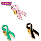 여자를 위한 금에 의하여 도금되는 분홍색 유방암 의식 리본 생존자 브로치 접어젖힌 옷깃 Pin