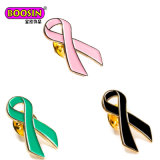 Pin cor-de-rosa chapeado ouro do Lapel do Brooch do sobrevivente da fita da consciência do cancro da mama para mulheres