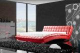 Moderne Hotel-Einrichtungsgegenstände-ledernes hölzernes Luxuxbett