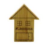 Flash de madeira do USB da forma da casa