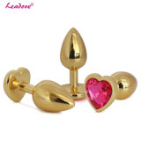 Brinquedos de cristal Shaped do sexo anal da jóia do coração dourado do tamanho médio
