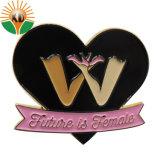 Latón personalizados forma Corazón Glittery emblema distintivo de la boda