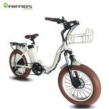 Preiswertes fettes Gummireifen-weißes faltbares elektrisches Fahrrad-elektrisches Motorrad der Dame-20inch