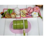 brinquedos de madeira educacionais das crianças do tempo do chá da morango do bebê 3D
