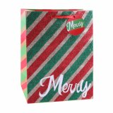 Bolsa de papel azul del Patten del árbol del brillo de la Navidad, bolsa de papel del regalo