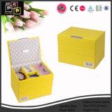 Желтая лидирующая кожаный коробка ювелирных изделий