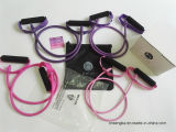 Câmaras de ar do exercício com as faixas da câmara de ar da resistência dos punhos para os exercícios que treinam Crossfit P90X Pilates que estica a cor-de-rosa e o roxo da aptidão