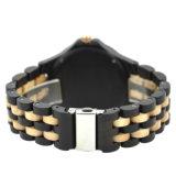 100% 자연적인 단풍나무 흑단 남자를 위한 목제 Handmade 형식 석영 시계를 가진 최신 판매 나무로 되는 시계