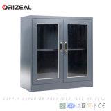 1개의 조정가능한 선반 및 플라스틱 손잡이 자물쇠 (OZ-OSC029)를 가진 Orizeal 2 그네 유리제 문 강철 내각