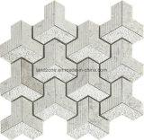 3D Chevron Muster-graues Weiß-Marmor-Mosaik-Fliese für Innenarchitektur