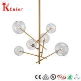 Lamp van uitstekende kwaliteit van de Tegenhanger van het Plafond van de Bal van het Glas van het Metaal van het Messing van het Restaurant de Decoratieve Enige Duidelijke Lichte Moderne