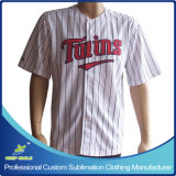 Nach Maß und Emb Logo Baseball Shirt mit Sublimation Stripes auf Body