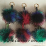 Flaumige Colorfurl Pelzpompom-Hut-Pelz-Kugel auf Schuh-/Hut-/Haar-Auto-hängendem Anhänger
