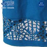 Round-Collar Rear-Zipper Hollowing-Lower azul Sin Mangas Largas delgado vestido de fiesta señoras