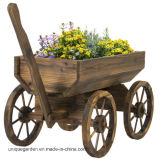 정원 바퀴를 가진 목제 수레 꽃 재배자 남비 대