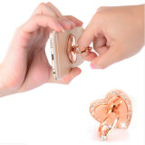 Sostenedor universal de amor del dedo de los diamantes de lujo del anillo y del gancho de leva del teléfono móvil del dedo del metal de 360 grados